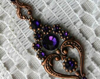 Purple Velvet Bindi in Oxidized Copper