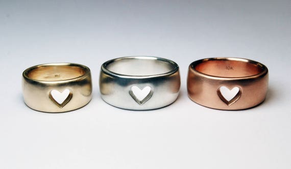 Wide Gold Heart Ring