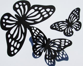 """Paper Monarch butterfly die cuts /Black color / 15 pc. set /   size from 1.5"""" to 5.5"""" / big butterfly die cuts"""