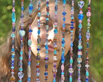 Purple Pink and Turquoise Beaded curtains for door or window in the shape of an arch, Boho Beaded Curtain, Bohemian Door Beads,