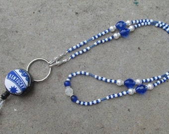 Blue and White Beaded Lanyard Kentucky Wildcats Beaded ID Badge Holder