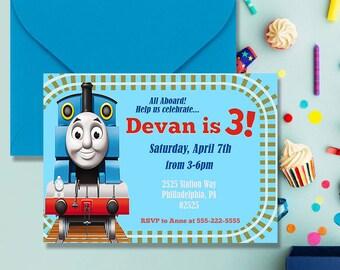 Thomas the Train Invitation | Digital Print, Birthday, Party, Invite, Thomas the Tank Engine, Cartoon, Kids, Toddlers