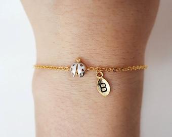 ladybug bracelet, Personalized bracelet, initial bracelet, Personalized Jewelry, friendship bracelet,Insect Bracelet, animal jewelry