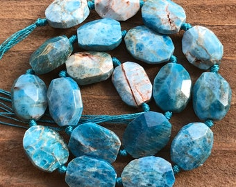 Apatite beads faceted ovals natural stones gemstones half strand