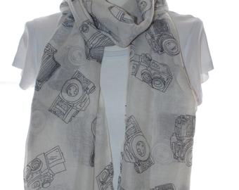 Cream camera Scarf shawl, Beach Wrap, Cowl Scarf,cream camera print scarf, cotton scarf, gifts for her