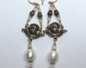 Angel Earrings in Solid Bronze with Freshwater Pearls - Made in Louisiana