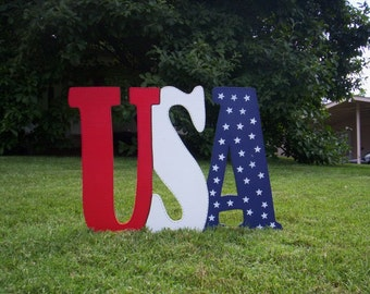 Patriotic USA 4th Fourth of July Americana Yard Art Lawn Decoration