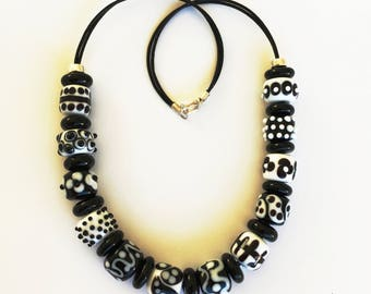 Black and white beaded necklace.  Black and white Murano glass necklace. One of a kind glass necklace. Statement necklace. Glass jewelry.