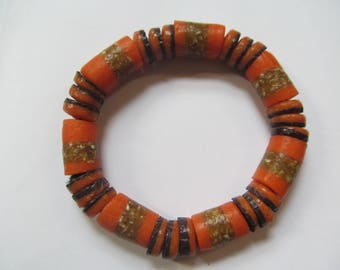 Orange & Brown Recycled Glass Bracelet