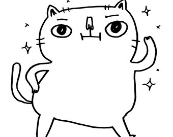 Custom Cube Cat Drawing