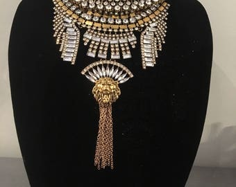 Statement necklace - Boho necklace - Ethnic necklace - Collar - Crystal necklace - Tribal necklace Choker necklace Gold statement necklace