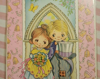 1970s Vintage A Wedding Day Wish Card married couple