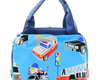 Personalized Boys Insulated Lunch bag-FIRE TRUCK Lunch Bag