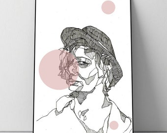 Digital art print Bubblegum girl with Bawler + + + digital print chewing gum melon girl