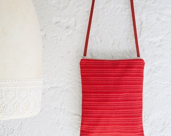A handmade small bag crossbody in red and gold striped fabric, a really unique bag, a womens bag, an unique gift for her