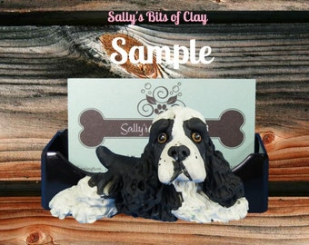 BLACK and white Parti Cocker Spaniel dog Business Card / Cell Phone Holder OOAK sculpture by Sally's Bits of Clay
