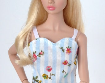 Blue and white strap blouse for Poppy Parker and Barbie Made to Move, Model Muse, Pivotal or New Silkstone
