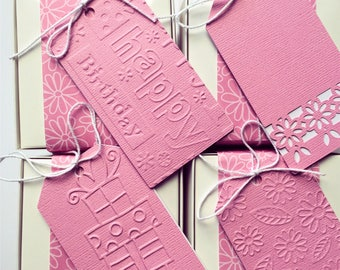 Pink gift tags. Embossed - Floral, Daisies, Flowers, Happy Birthday, Merry Christmas, Snowflakes. Luggage tag, baby girl gift wrapping.