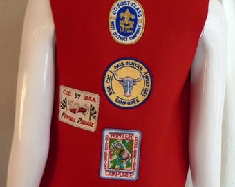 Vintage 1960s Girl Scout Vest with Patches Indy 500 Camporee Dated 1966 and 67