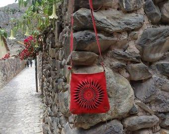 Red Leather Handbag - Leather bag - Boho Design -  Peruvian Leather Design - Ethnic Bag - Bohemian Bags - Spiral Handbag - Purse Bag