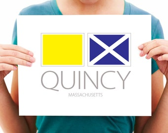 Quincy, Massachusetts - Nautical Flag Art Print