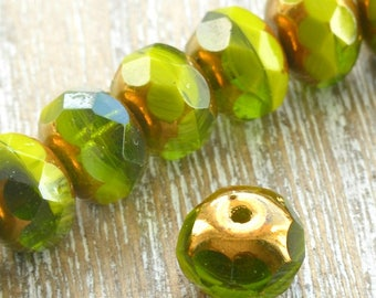 Czech Glass Rondelle Beads With Picasso Finish, Green Beads, Faceted Rondelle Beads, Faceted Czech Beads, Jewellery Supplies, Glass Beads