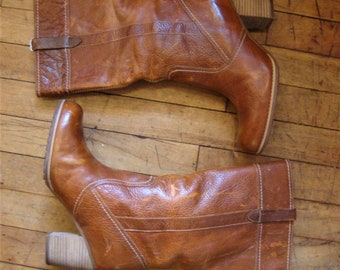 Vintage Women's Timberland Tall Boots Stacked Heels * Size 9.5 M * Boho