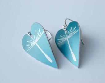 Dandelion seed heart earrings in blue, heart earrings