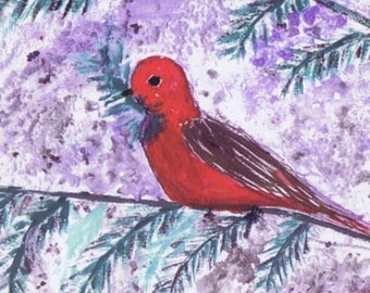 Set of Red Bird in Tree HOliday Cards