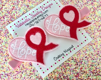 Hair Clip Hope for a cure breast cancer pink awareness ribbon heart hairclip 1 CLIP toddler girls kids tween teen support accessory