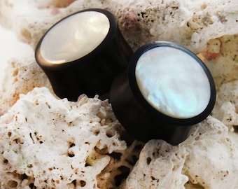 """Areng Wood Plugs with Mother of Pearl Inlay Pair 8mm (0G) 10mm (00G) 12mm (1/2"""") 14mm (9/16"""") 16mm (5/8"""") 19mm (3/4"""") 22mm (7/8"""") 25mm (1"""")"""