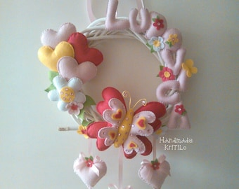 Birth bow flowers and butterfly spring wreath