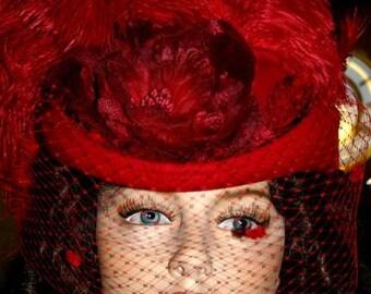 Kentucky Derby Hat Victorian Hat Red Hat SASS Hat Tea Hat Women's Western Hat Red Hat - Spirit of Wichita