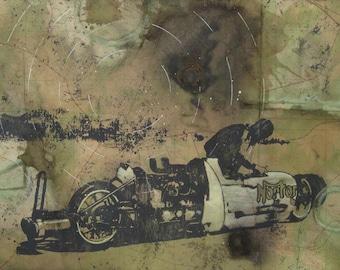 Bonneville Salt Flats - Motorcycle Map Art - Land Speed Record Norton - Mixed Media