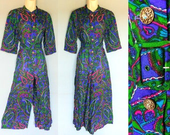rubber soul / 1960s psychedelic paisley print wide leg jumpsuit / small