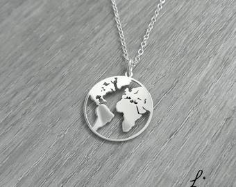 Globe necklace etsy world map necklace globe necklace earth necklace globetrotter necklace world map pendant globe pendant boho jewelry 925 silver gumiabroncs Image collections