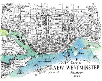 New Westminster Map - Metro Vancouver British Columbia Canada Watercolor Art print - Home decor Wall Art