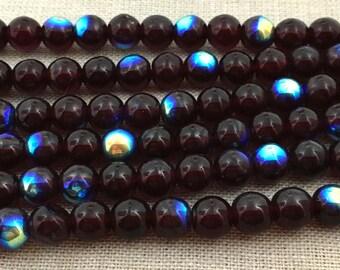 50 AB Dark Garnet Czech Round Glass Beads 6mm
