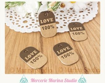 10 small kraft tags tags love 100% 3x2cm