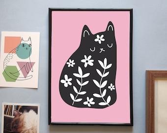 Black floral cat A4 print - Cat illustration - I like cats - floral cat - black cat - black cat print - Wall art - Cat art - Cats - cat gift