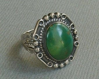 FRED HARVEY Era Old Pawn Antique NAVAJO Ring, Cerrillos Green Turquoise, Native American Sterling Ring, Arrow Stampwork 1930's, Gift for Her