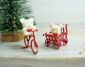 Flocked Christmas Bears, Vintage Flocked Ornaments, White Flocked Teddy Bears in a Buggy and on a Bike - Made in Taiwan circa 1980s - 2 Pcs