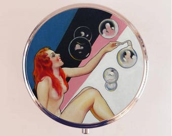 Art Deco Bubble Woman Pill Box Case Pillbox Holder Trinket Stash Box Flapper 1920s Jazz Age Roaring 20s