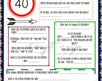 40th Birthday Trivia Game | Instant Download | Everything to do with the number 40!