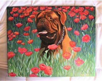 Custom Pet Portrait Painting | Acrylic Pet Portrait | French Mastiff Painting | Dog Portrait | Pet Memorial | Pet Gifts | Pet Loss Gift