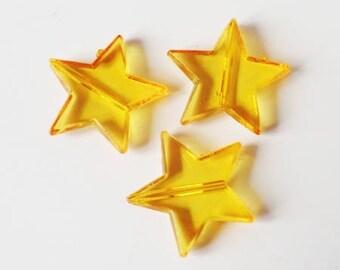 5 x beads 22mm ORANGE TRANSPARENT plastic star