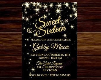 Sweet Sixteen Invitation, Black and Gold Invitation - Digital File