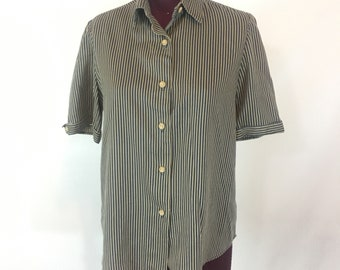 CONDUCTOR STRIPES Vtg Womens S Button Down Blouse