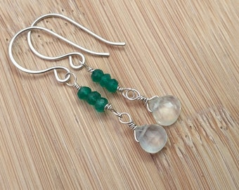 Multi Gemstone Earrings. Prehnite and Green Onyx Earrings. Sterling Silver Wire Wrapped Long Earrings. Emerald Green Gemstones Gift for Her