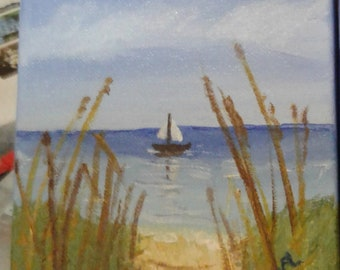 """6x6 x 1 1/2"""" Acriylic Painting with seal coat beach and sailboat"""